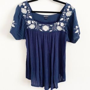 Lucky Brand Navy Embroidered Peasant Top